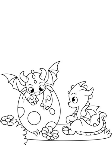 Newly Hatched Dragons coloring page Free Printable