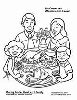 Coloring Dinner Pages Easter Printable Eating Clipart Drawing Thanksgiving Christmas Cameo Restaurant Together Sharing Meal Sheets Preschool Coloringpagesgreat Science Print sketch template