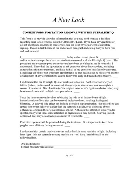 Consent Form For Tattoo Removal With The Ultralight Q printable pdf download