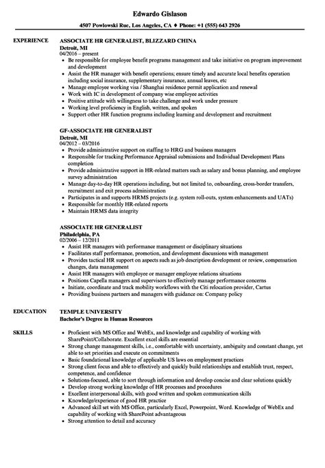 Hr Generalist Resume by Associate Hr Generalist Resume Sles Velvet