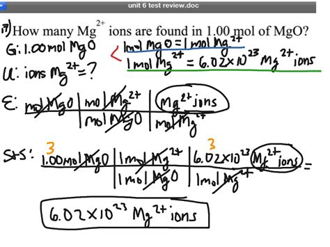 Moles Of Mgo To # Mg 2+ Ions  Science, Stoichiometry, 2 Step Conversions, Dimensional Analysis