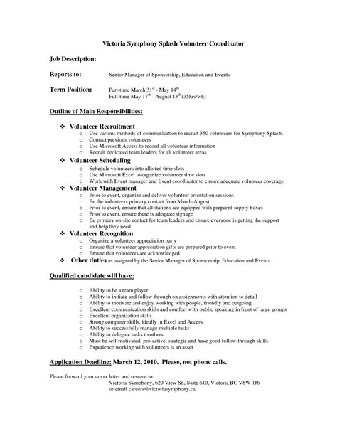 Charity Work On Resume Exle by Best Photos Of Volunteer Descriptions For Resume Volunteer Coordinator Cover Letter Sle
