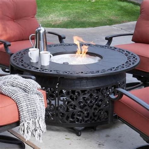 propane fire table glass round gas fire pit table with propane burner fire glass