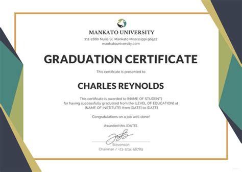 graduate certificate templates  printable word
