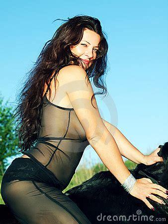 sexual women  black horse royalty  stock
