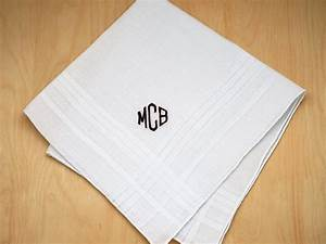 Mens Monogrammed Wedding Hankie w/ 3 Initials - Font D