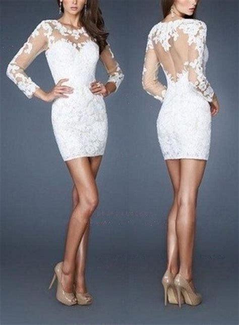 long sleeve lace short wedding dress