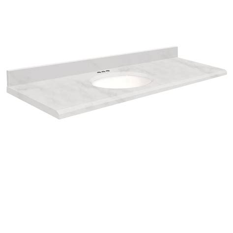 61 vanity top single sink shop transolid white marble natural marble undermount