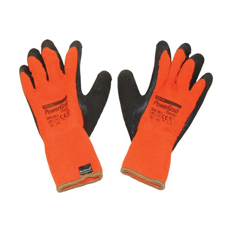 power grab thermo orange gloves roofers mart