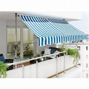 Sunfun klemmmarkise breite 25 m blau weiss ausfall 1 for Markise balkon mit antike tapeten floral