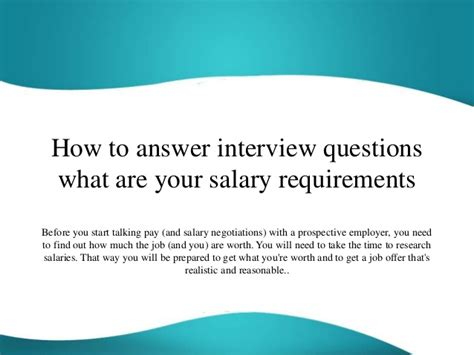 salary answer requirements interview questions start slideshare before pay