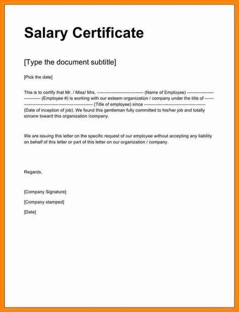 salary certificate letter format word simple salary slip