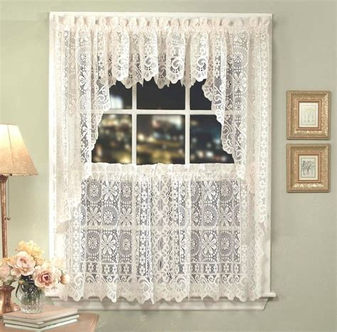 White Lace Kitchen Curtains by Hopewell Lace Kitchen Curtain White Or Tiers