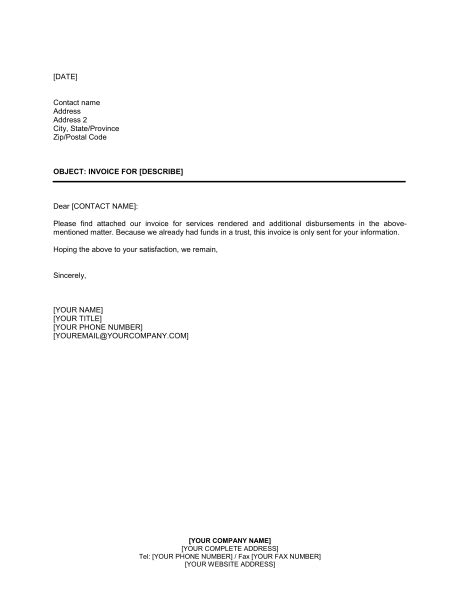 letter  customer invoice attached template word