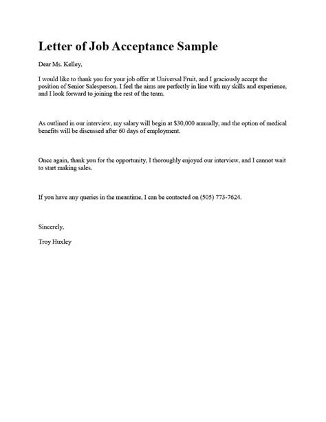 acceptance letter template 40 professional offer acceptance letter email templates template lab