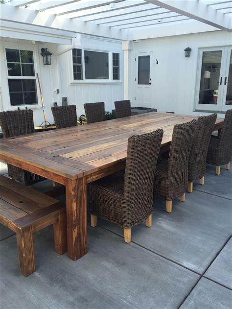handmade reclaimed wood farm table outdoor  indoor