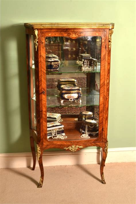 Antique French Rosewood Display Cabinet Vitrine C1880