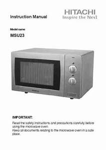 Hitachi Msu23 Microwave Oven Download Manual For Free Now