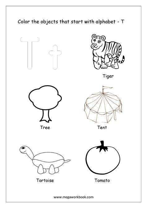 things that start with letter t with objects that free worksheets alphabet picture coloring 33428