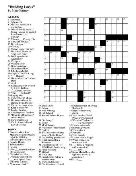 Free Printable Crossword Puzzles 2018 Onlyonesearch Results
