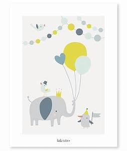 affiche bebe enfant elephant ballons garcon With affiche chambre bébé avec fleurs Á envoyer