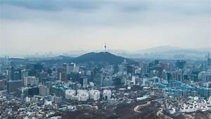 Cityscape Of Seoul With Seoul Tower, South Korea. Stock ...
