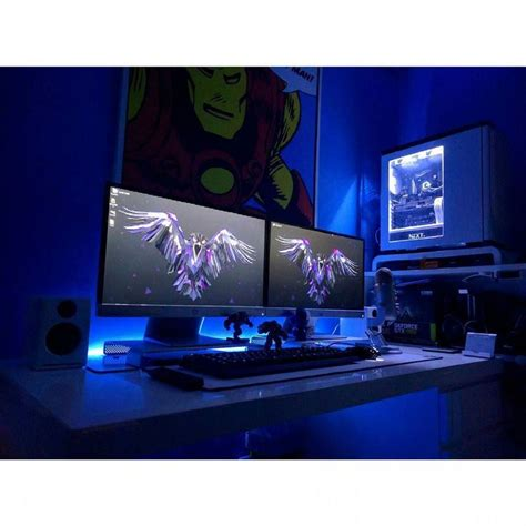 gaming computer desk for multiple monitors this white desk setup with dual monitors immediately