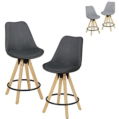 housse de chaise hauteur dossier 60 cm finebuy ensemble de 2 tabourets de bar bois rétro tissu