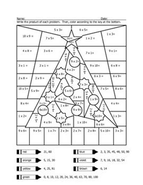 christmas tree color by code math worksheets christmas