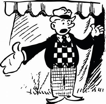 Clip Cartoon Circus Retro Vector Illustration Barker