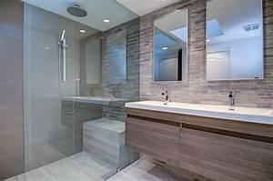 meuble salle de bains bois carrelage et deco en 105 idees With finition de salle de bain