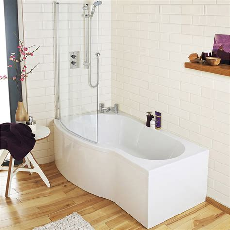 Shower With B by Cruze Curved Shower Bath 1500mm With Screen Acrylic Panel