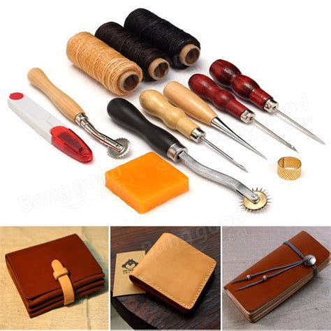pcs wood handle leather craft tools kit leather hand