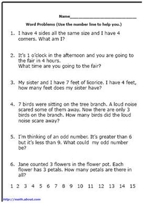 word problem worksheets for first grade math math math