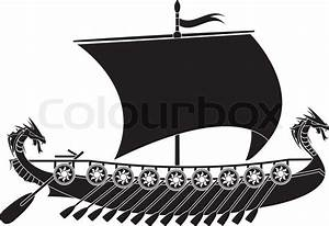 Drakkar viking. stencil. vector illustration | Stock ...