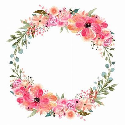Circle Watercolor Floral Wreath Clipart Florals Graphic