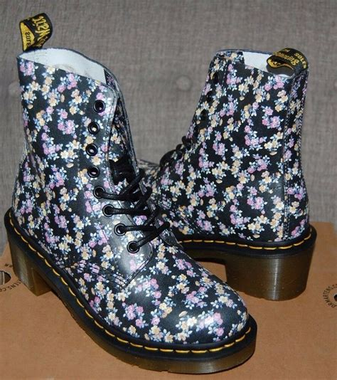rare dr  martens womens clemency  black mini tydee flower heeled boots ebay