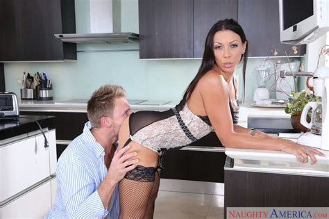 Rachel Starr in sexy lingerie and stockings gets fucked in the kitchen - My Pornstar Book