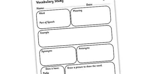 Vocabulary Word Study Worksheet  Vocabulary Worksheet, Word Study Worksheet