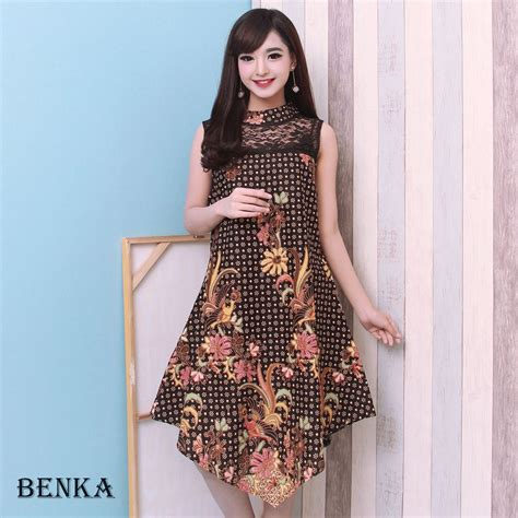 jual dress batik modern wanita blouse batik cewek benka