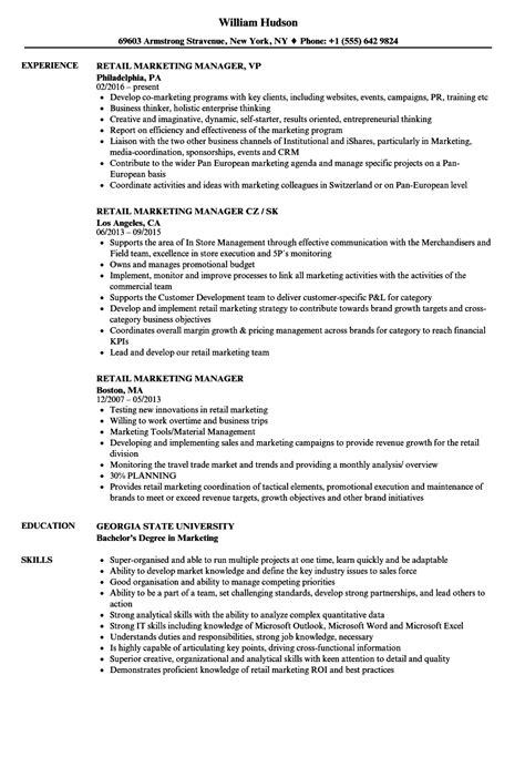retail marketing manager resume sles velvet
