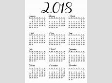Printable Calendar 2018 Yearly Calendar Download
