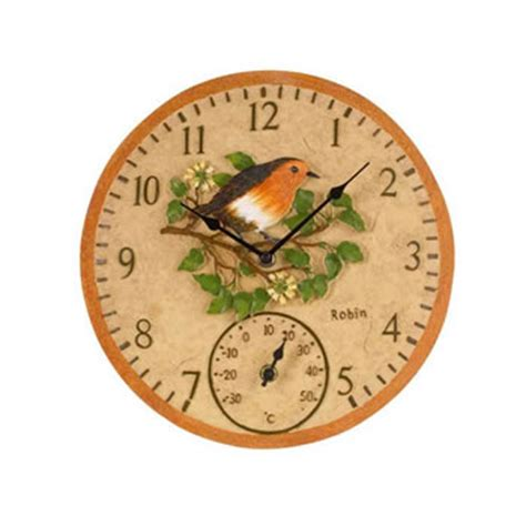 outdoor wall clock and thermometer outdoor robin wall clock and thermometer 163 20 15 7248