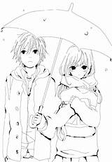 Coloring Couple Pages Anime Getdrawings sketch template