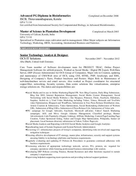 Bioinformatics Resume by Resume Social Media Specialist Dubai Abu Dhabi Middle East India