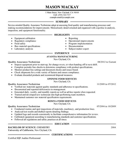 Resume Format For Quality Assurance by Quality Assurance Resume Exles Wellness Resume Sles Livecareer
