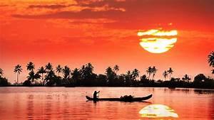 Kerala Backwaters Sunset Reflection Wallpaper