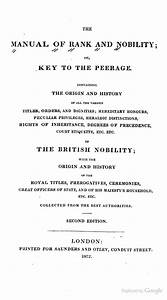 The Manual Of Rank And Nobility  Or Key To The Peerage