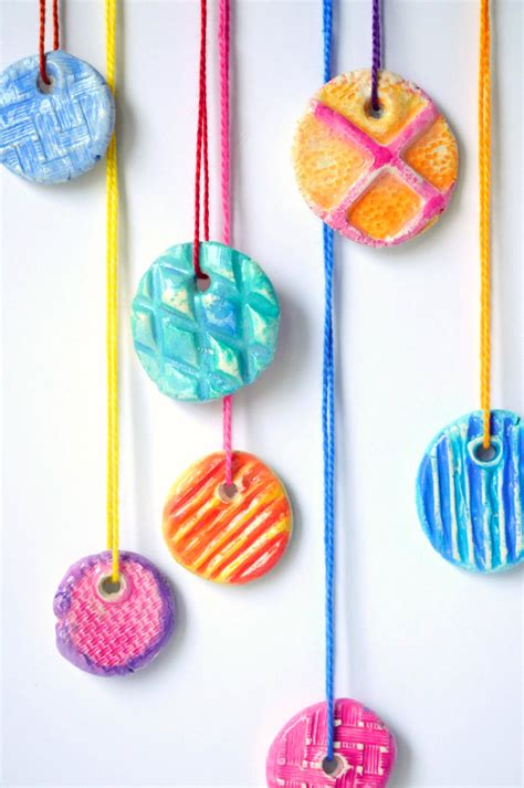 kid craft ideas diy texture clay pendants craftwhack 4791