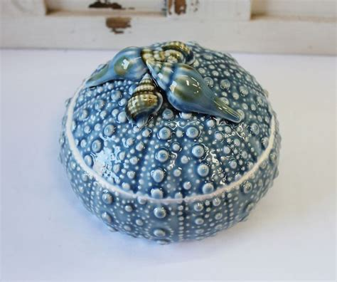 blue ceramic sea urchin bowl  lid jewelry box